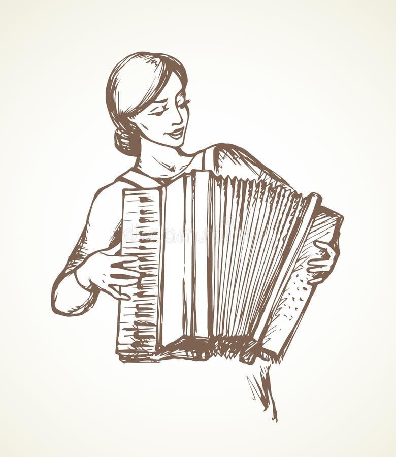 Dama bawi? si? akordeon rysuje t?a trawy kwiecistego wektora royalty ilustracja