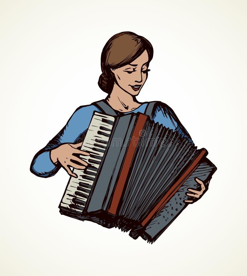 Dama bawi? si? akordeon rysuje t?a trawy kwiecistego wektora ilustracji