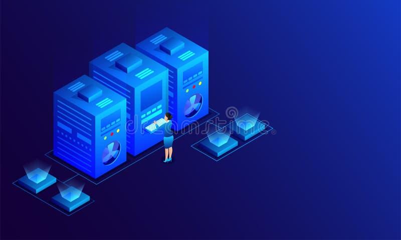 Dama dane analizy analityczni dane, trzy duży serwer łączyli dowcip royalty ilustracja