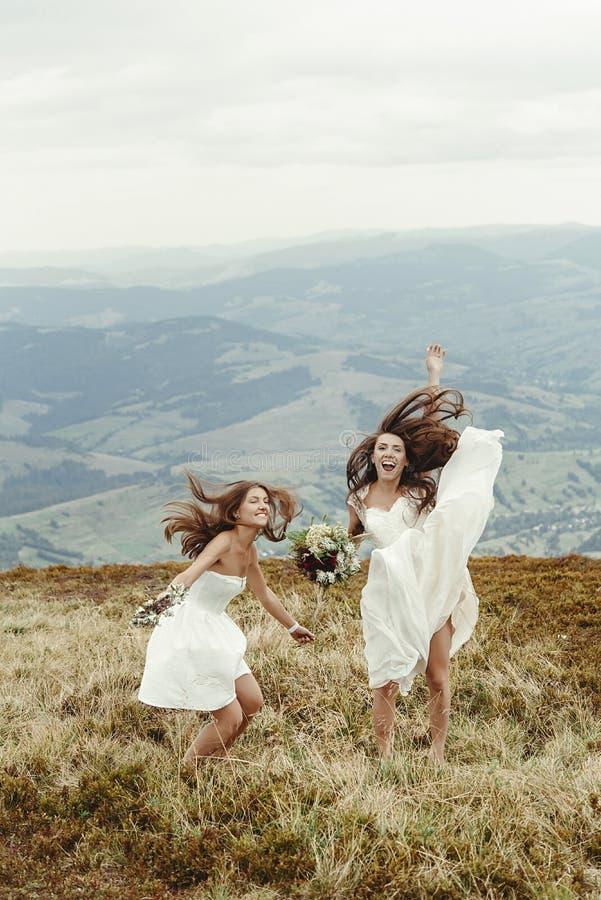 Dama de honor elegante y novia magnífica que se divierten y que saltan, BO imagenes de archivo
