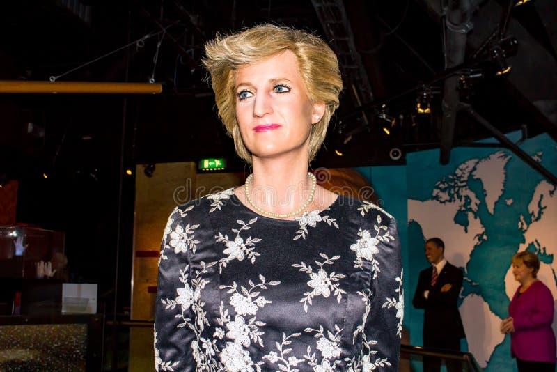 Dama Diana, wosk postać, Madame Tussaud's Amsterdam zdjęcia stock