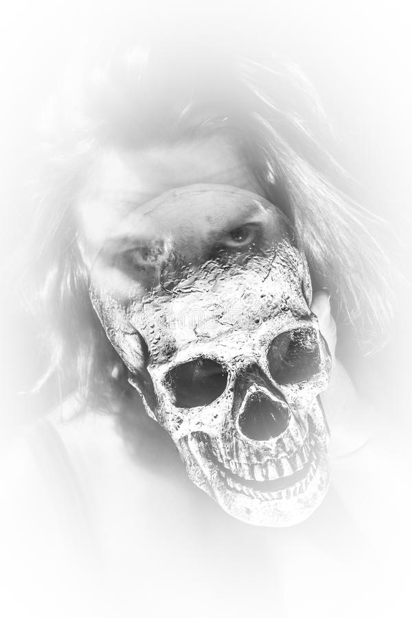 Dama ducha czaszka obraz stock