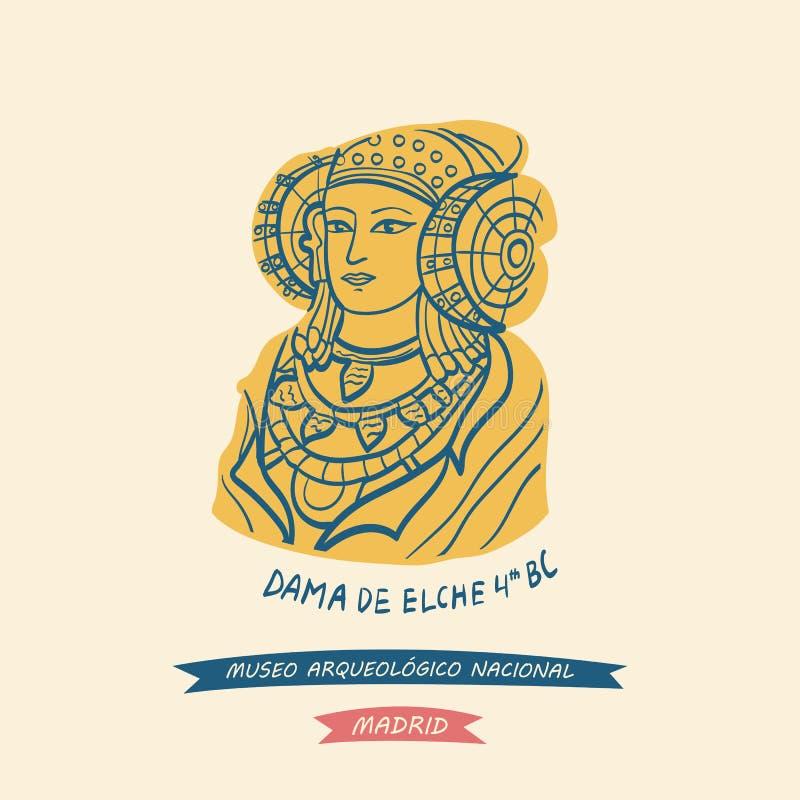 Dama Elche symbol Krajowy Archeologiczny muzeum ilustracja wektor