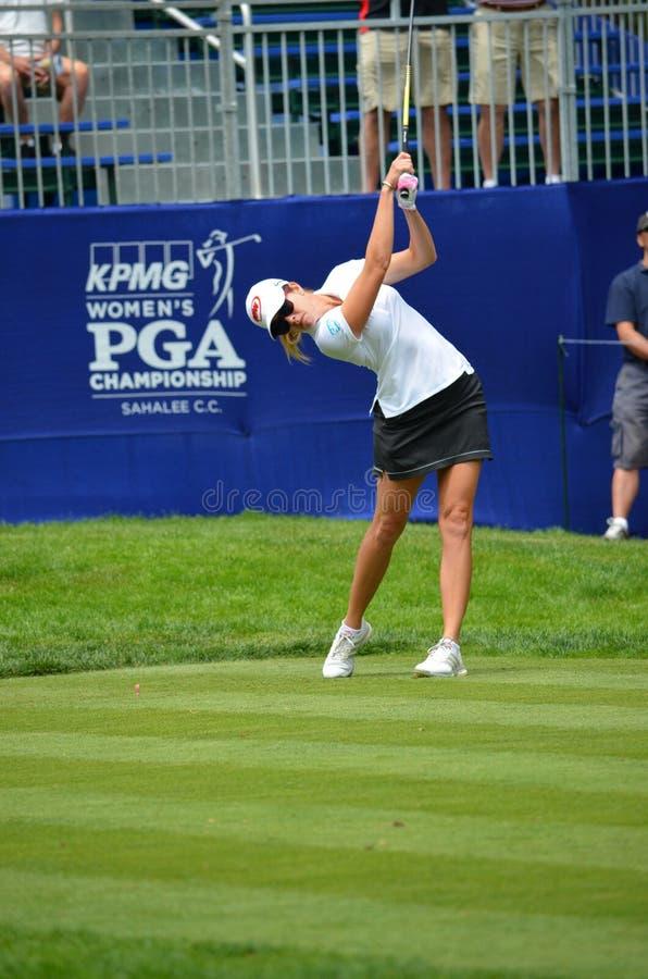 Dama golfisty Paula creameru trójnik daleko przy 2016 KPMG kobiet PGA mistrzostwem przy Sahalee klub poza miastem zdjęcie stock