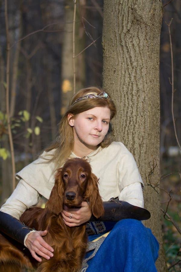Dama i pies obraz stock