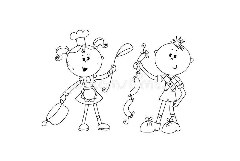 Dama kucharz utrzymuje łyżkę i nieckę, i chłopiec daje ona kiełbasom royalty ilustracja