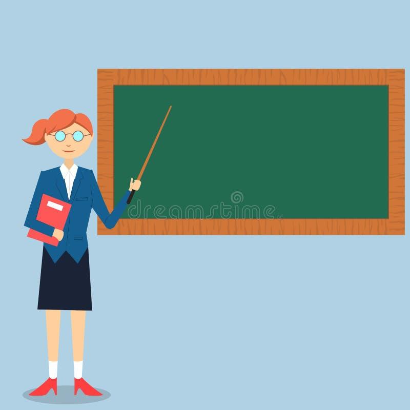 Dama nauczyciela nauczanie na zieleni desce royalty ilustracja