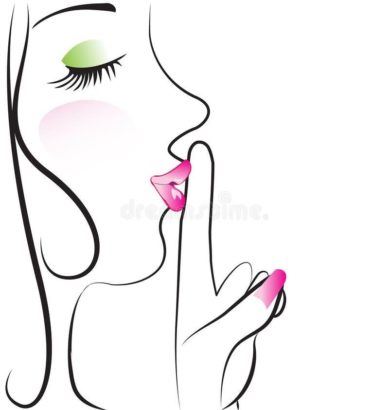 Dama robi cisza znakowi ilustracja wektor
