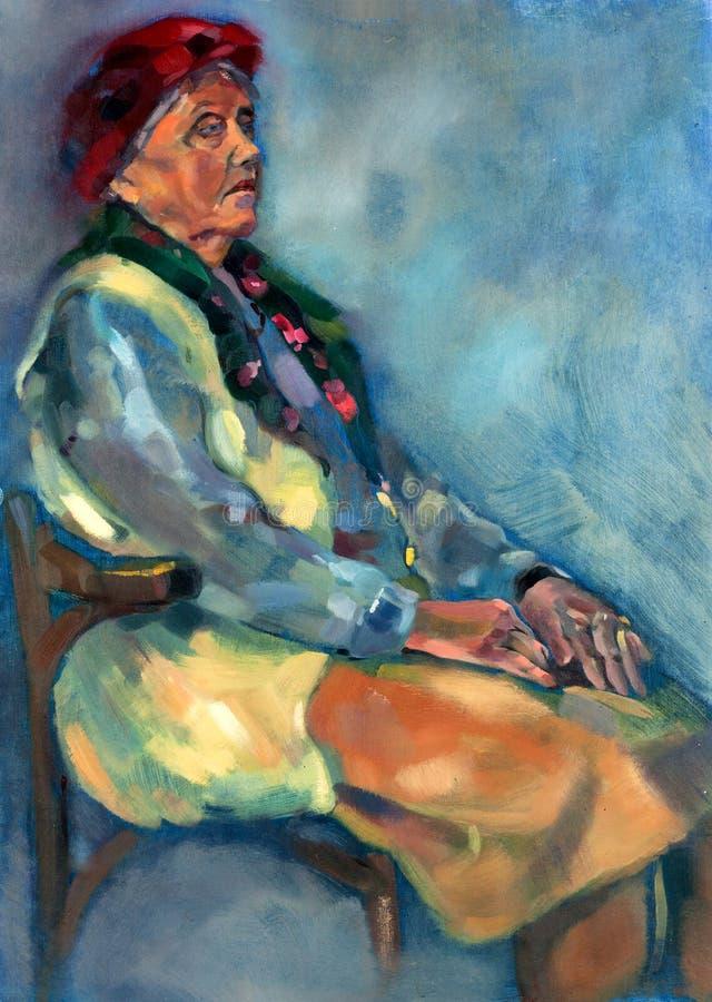 Dama starszy portret ilustracji