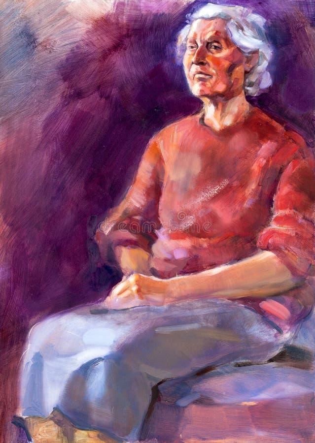 Dama starszy portret ilustracja wektor