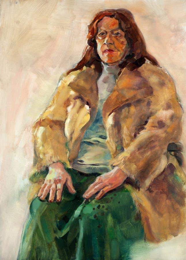 Dama starszy portret royalty ilustracja