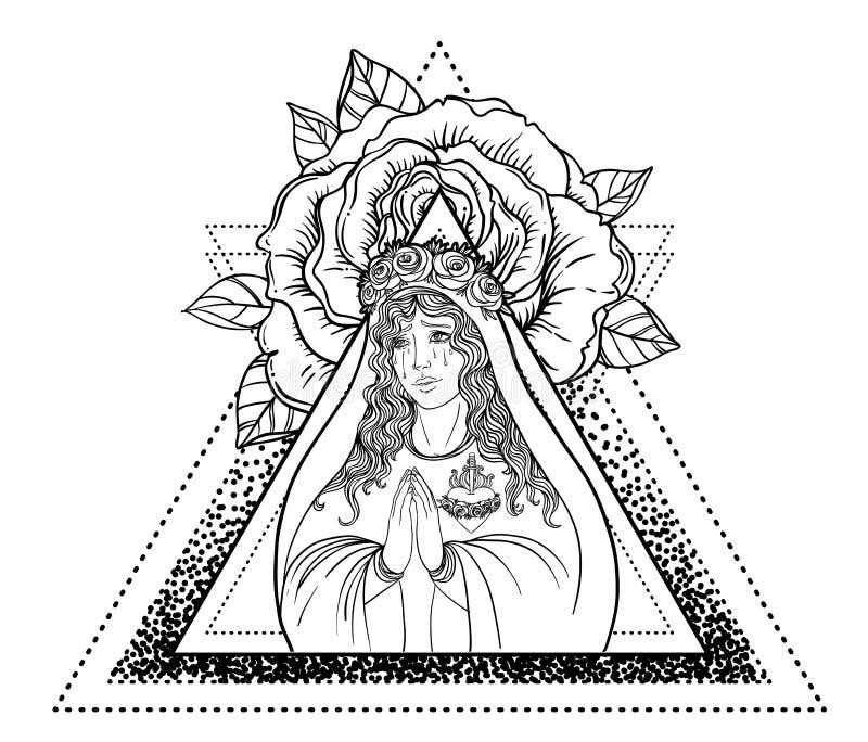 Dama stroskanie Oddanie Niepokalany serce Błogosławiony Virg ilustracja wektor