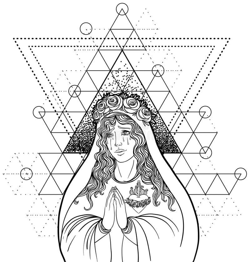 Dama stroskanie Oddanie Niepokalany serce Błogosławiony Virg royalty ilustracja
