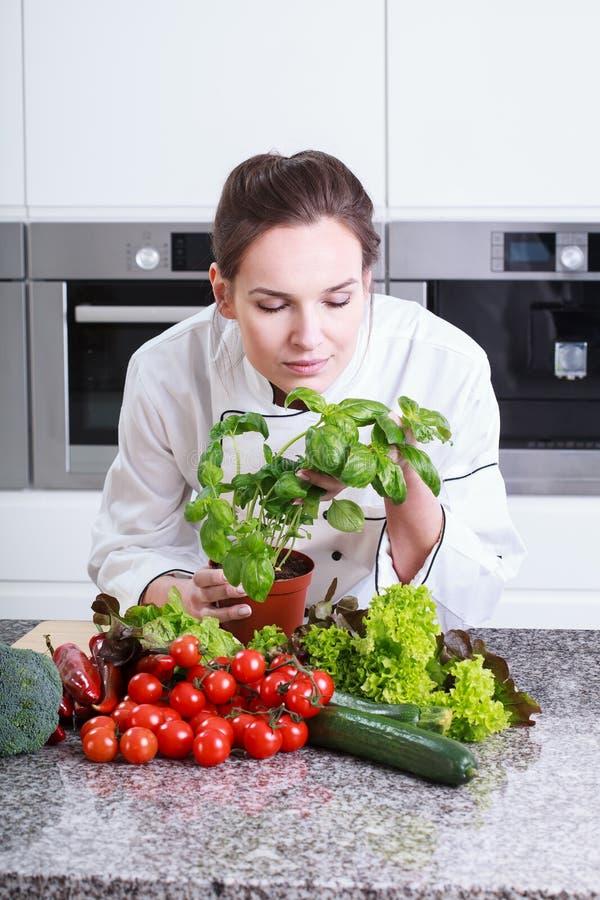 Dama szef kuchni wącha ziołowe pikantność fotografia stock