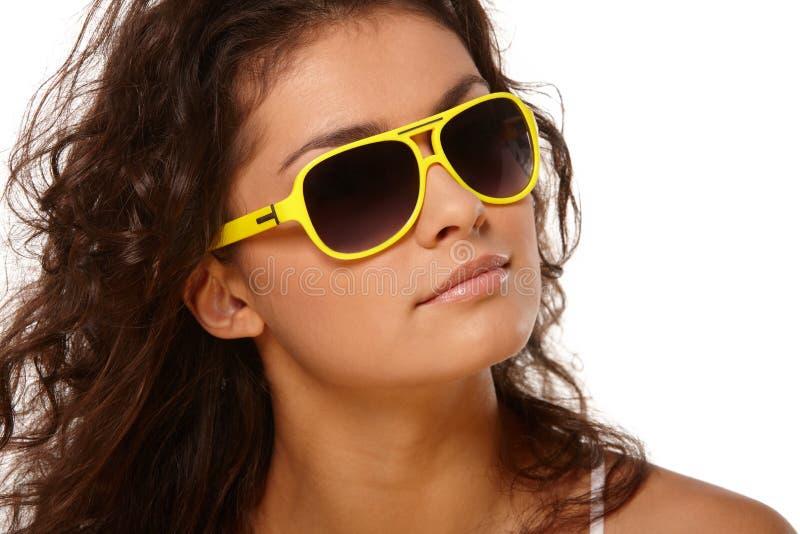 Dama w żółtych szkłach obraz royalty free