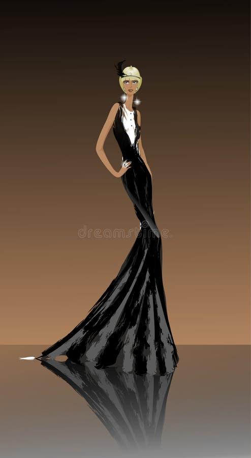 Dama w czerń sukni ilustracja wektor