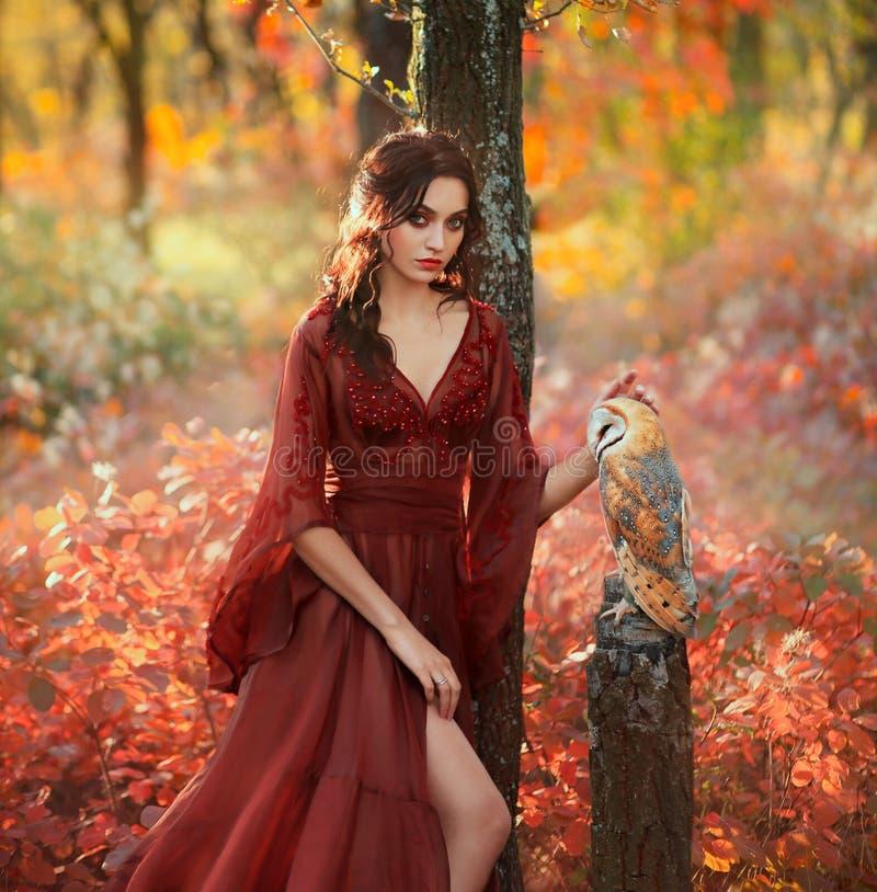 Dama w długiego lekkiego lata Burgundy czerwonej sukni z otwartą nogą i stajni sowa, zdjęcie royalty free