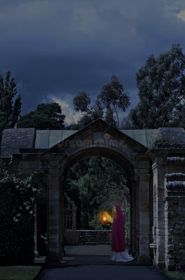 Dama w kasztelu ogródzie przy nocą obraz stock