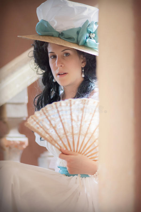 Dama w wiktoriański sukni obraz stock