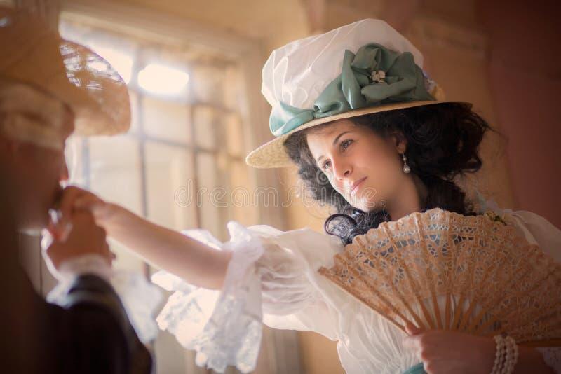 Dama w wiktoriański sukni obraz royalty free