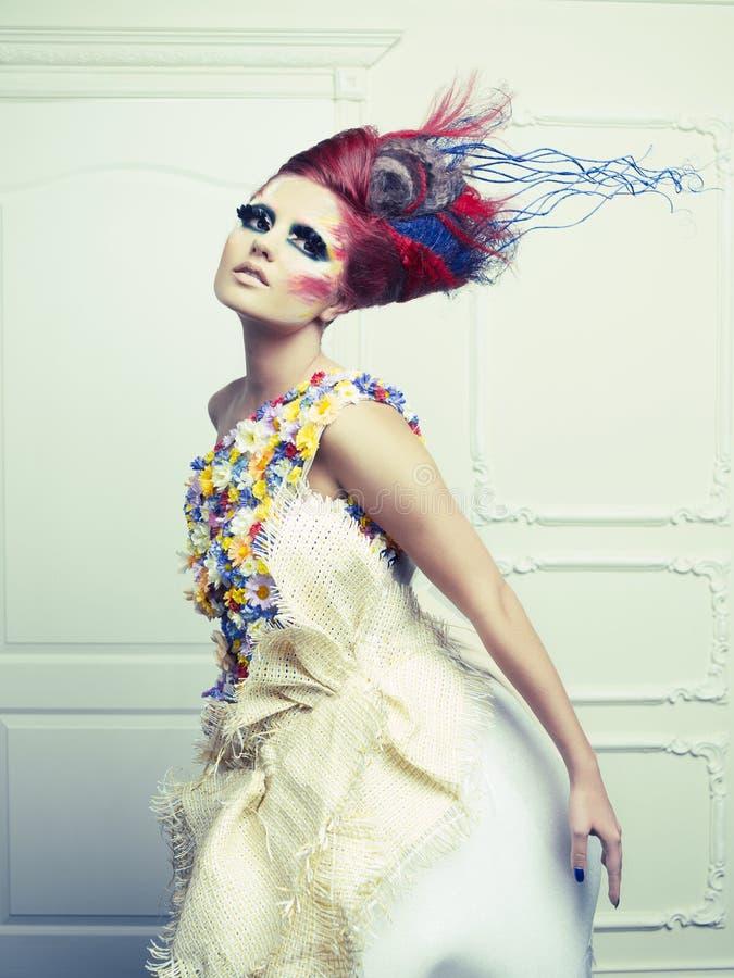 Dama z awangardowym włosy obrazy royalty free