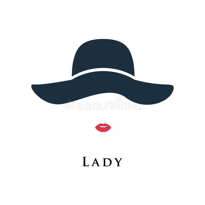 Dama z malować wargami w pięknym kapeluszu royalty ilustracja