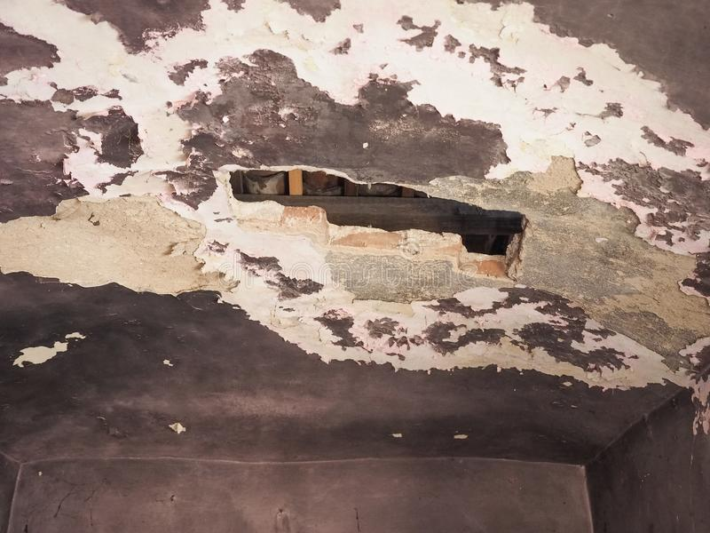 damp moisture on wall and ceiling stock images