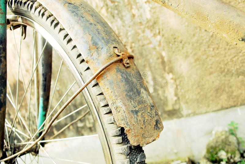 Damage cycle . water damage this cycle . color & some parts are damage  . This cycle is standing there so many days . the owner of the cycle has been died royalty free stock photo