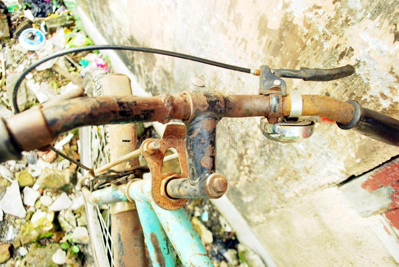 Damage cycle . water damage this cycle . color & some parts are damage  . This cycle is standing there so many days . the owner of the cycle has been died royalty free stock image