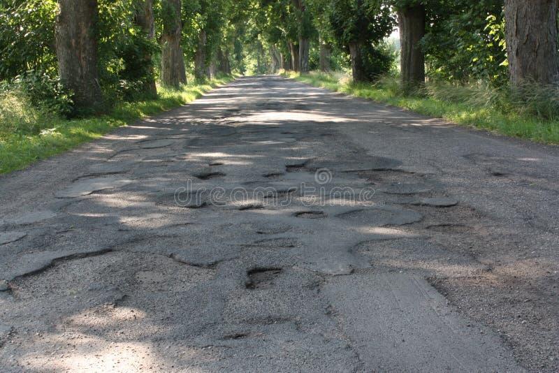 Damage road. Polish roads asphalt dirt road hole repair danger tire car damage royalty free stock photos