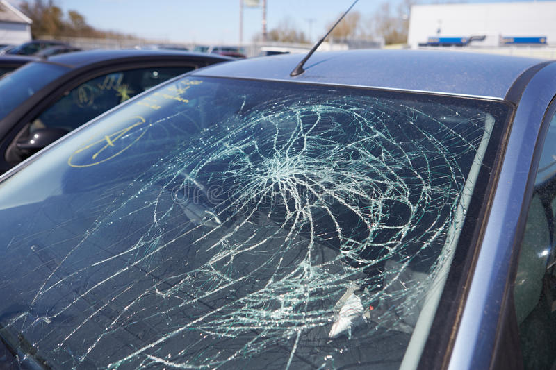 Damage To Car Involved In Accident Royalty Free Stock Images