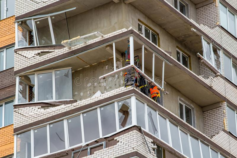 Obninsk, Russia - April 22, 2018: Damage to loggias on a 20-storey house as a result of a strong hurricane wind. Damage to loggias on a 20-storey house as a royalty free stock images