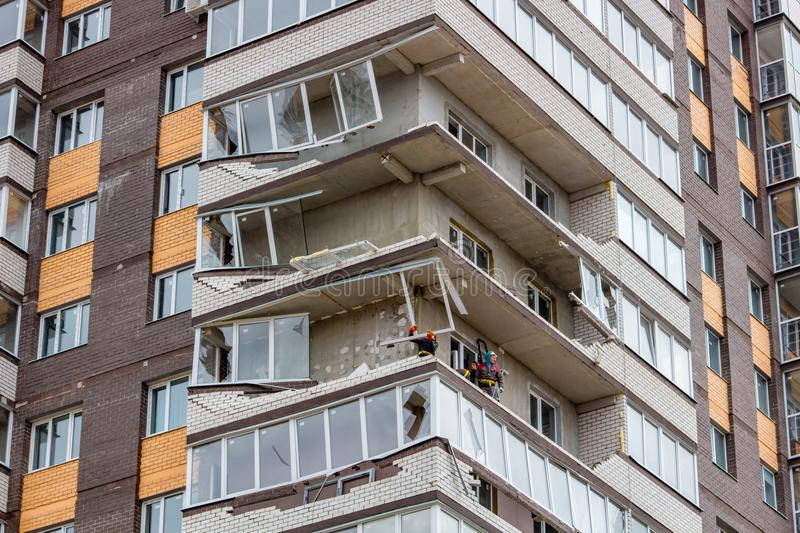 Obninsk, Russia - April 22, 2018: Damage to loggias on a 20-storey house as a result of a strong hurricane wind stock images