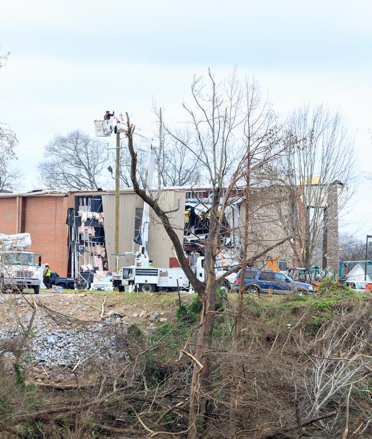 Damage From Tornado that Struck Wetumpka, Alabama. Building damage from tornado that touched down in Downtown Wetumpka, Alabama on nineteen January stock image