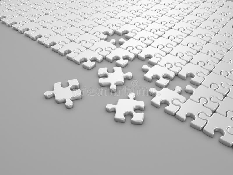 Damaged assembling of puzzle. 3D Illustration
