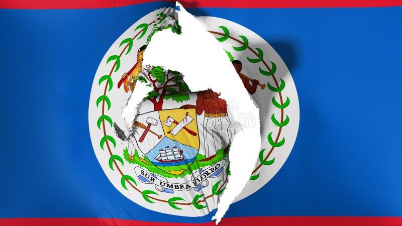 Damaged Belize flag. White background, 3d rendering royalty free illustration