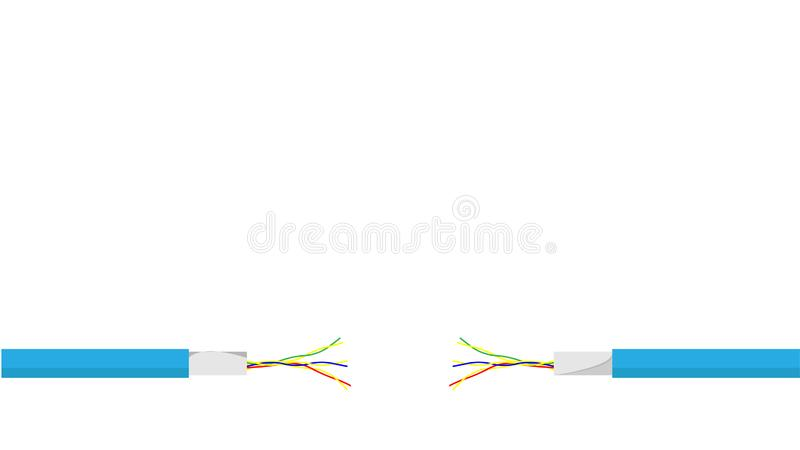 Damaged blue electric cord on white background. Dangerous broken power electrical cable. Vector royalty free illustration