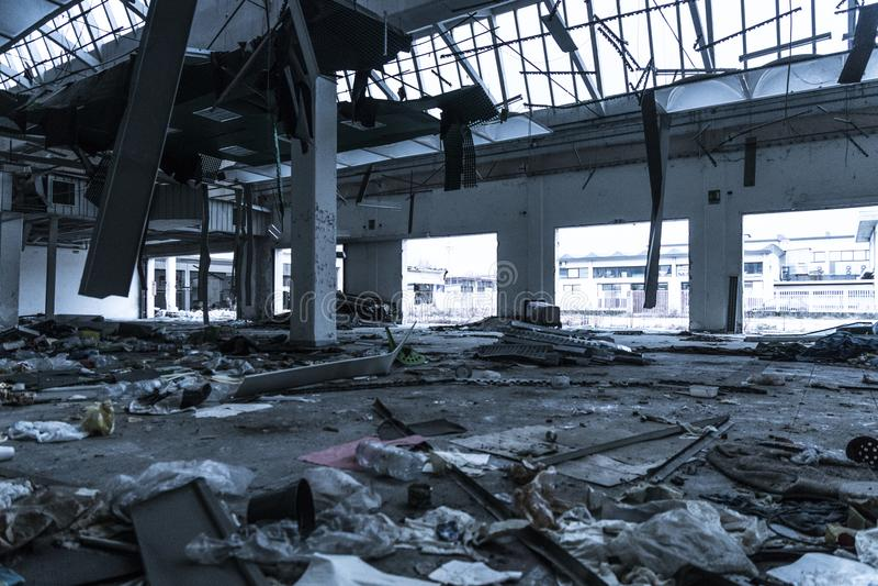 Damaged Building Interior stock photos