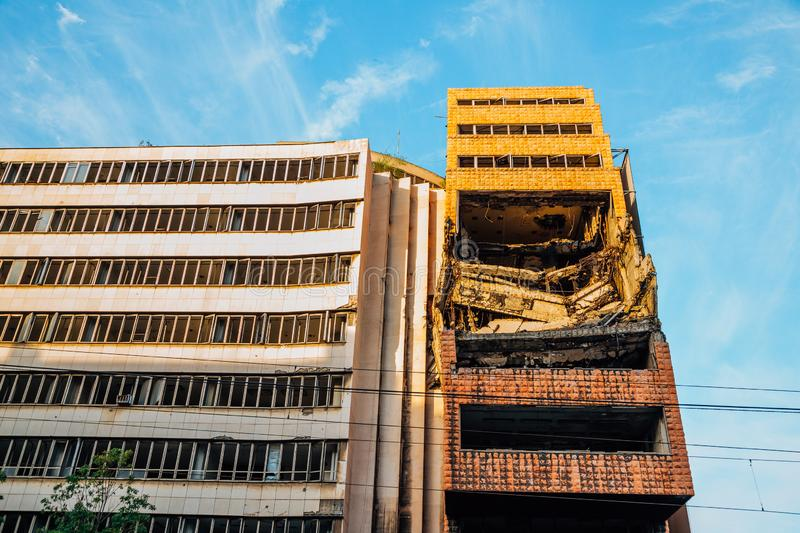 Damaged building from the NATO bombing in Belgrade, Serbia stock images