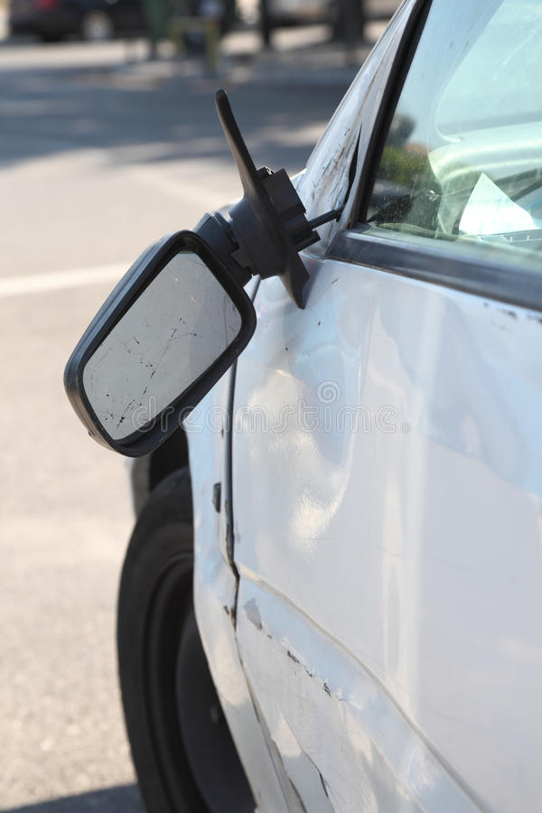 Download Damaged Car And Broken Side Rear View Mirror. Stock Photo - Image: 26402652