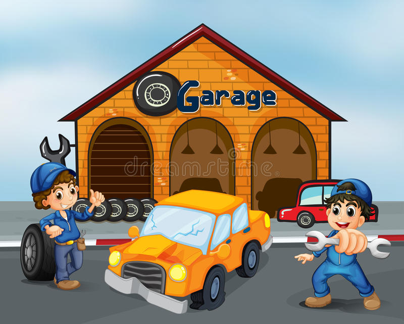 A damaged car in the middle of two boys in front of the garage. Illustration of a damaged car in the middle of two boys in front of the garage royalty free illustration