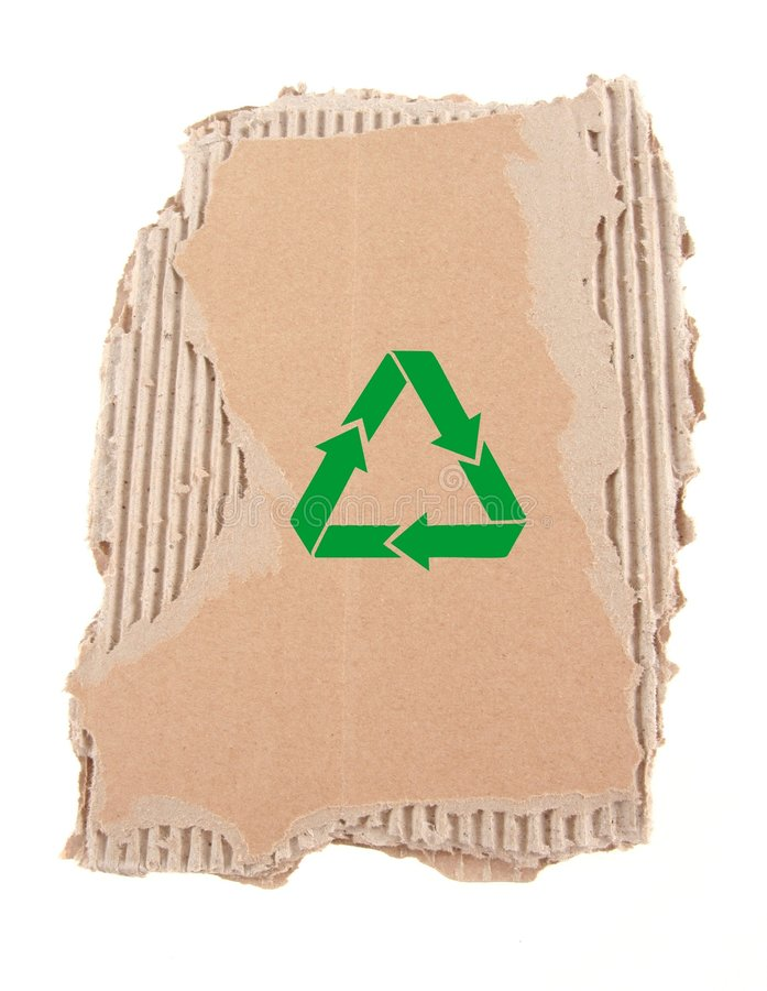 Damaged Cardboard With Recycling Symbol Royalty Free Stock Images