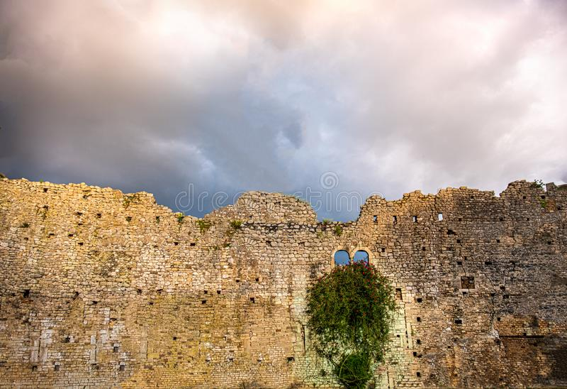 Damaged castle wall background ruins sky backdrop storm clouds windows ivy plant flowers copyspace.  royalty free stock photo