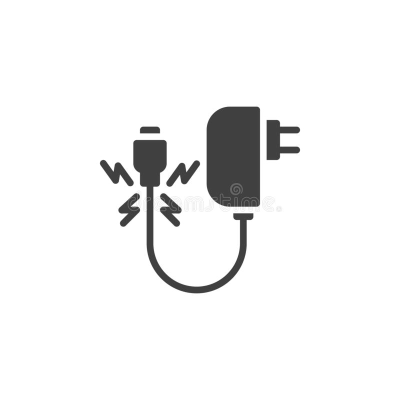 Damaged charger cable vector icon. Filled flat sign for mobile concept and web design. Broken charger wire glyph icon. Symbol, logo illustration. Vector royalty free illustration