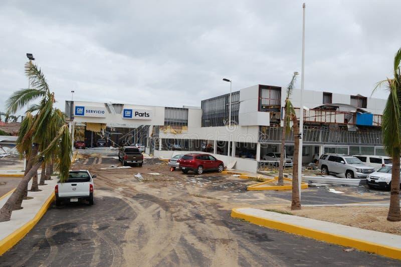 Damaged Chevrolet salon in Cabo San Lucas stock photos