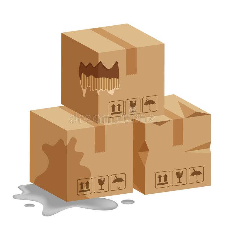 Damaged crate boxes 3d, broken cardboard box, flat style cardboard parcel boxes wet, packaging cargo, isometric boxes torn royalty free illustration