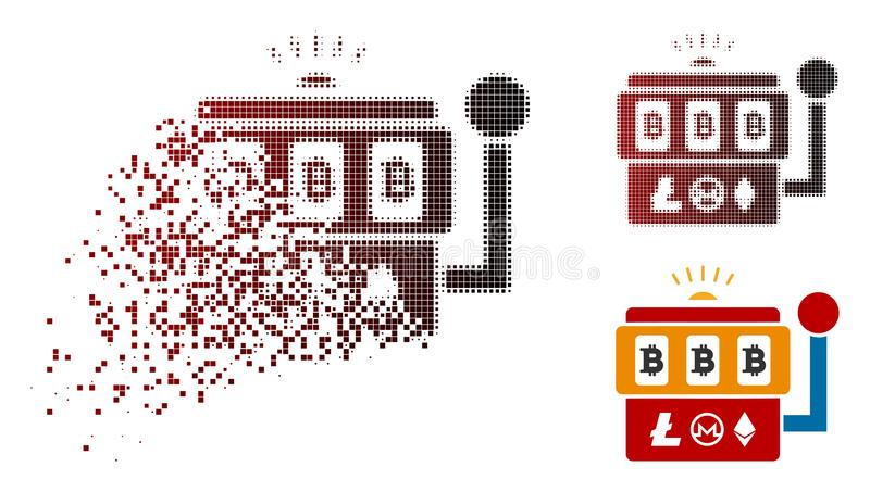 Damaged Dot Halftone Bitcoin Gambling Machine Icon. Bitcoin gambling machine icon in sparkle, pixelated halftone and undamaged entire variants. Fragments are stock illustration