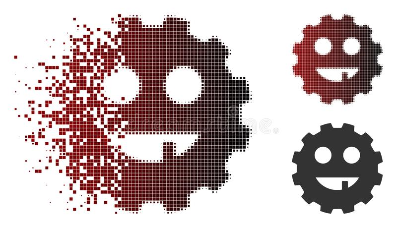Damaged Dotted Halftone Toothless Smiley Gear Icon. Toothless smiley gear icon in fractured, dotted halftone and undamaged solid versions. Points are composed royalty free illustration