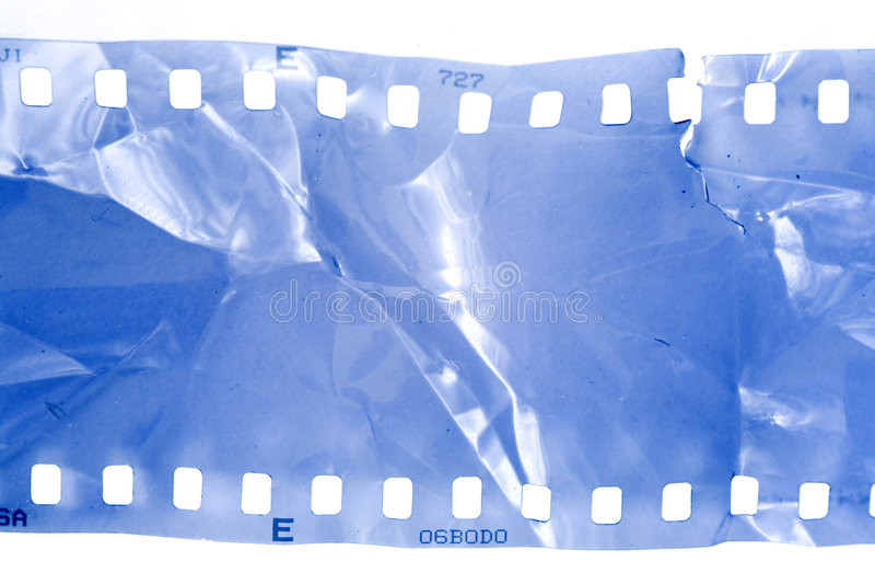 Damaged film strip stock photography