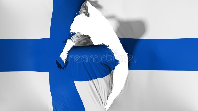 Damaged Finland flag. White background, 3d rendering vector illustration